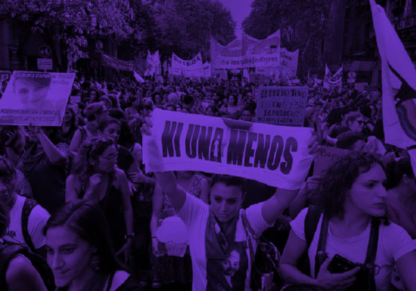 people protesting with purple filter over entire image